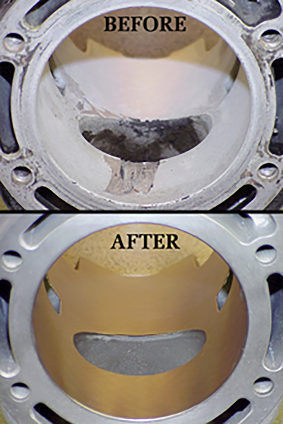 Before and After photos of cylinders